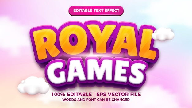 Royal games 3d editable text effect cartoon comic game title template style