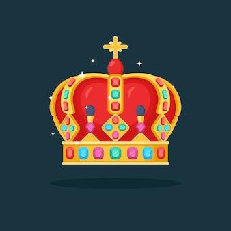 여왕, 공주, 왕을위한 로얄 골드 크라운. 우승자, 챔피언, 리더십 개념에 대한 상.