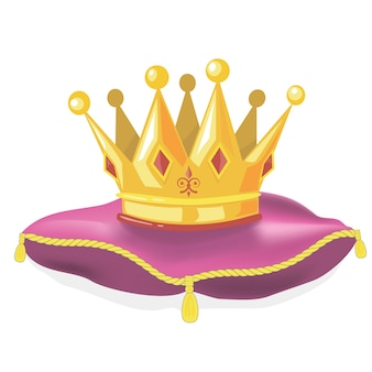 Royal gold crown on the pillow