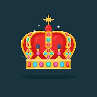 Royal gold crown for queen, princess, king isolated. awards for winner, champions, leadership concept.