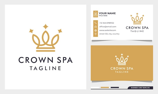 Royal gold crowns logo design with line art style and business card template