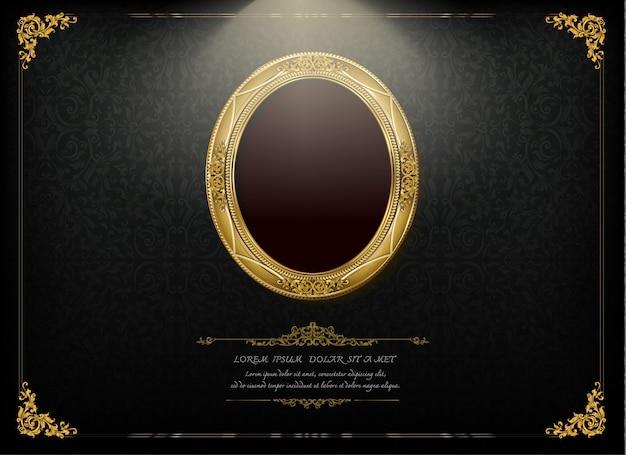 Royal gold frame on drake pattern background