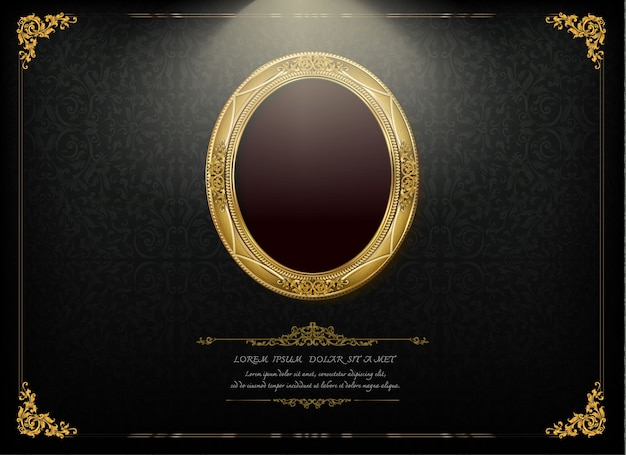 Королевская золотая рамка на фоне дракона