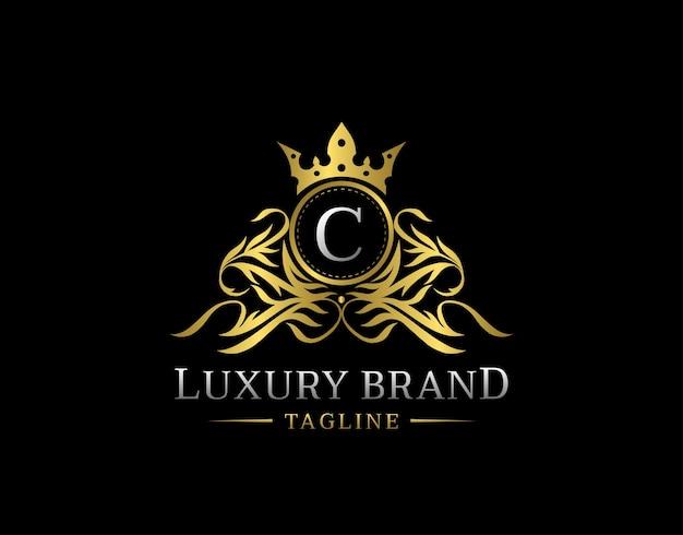 Royal gold shield c letter logo.