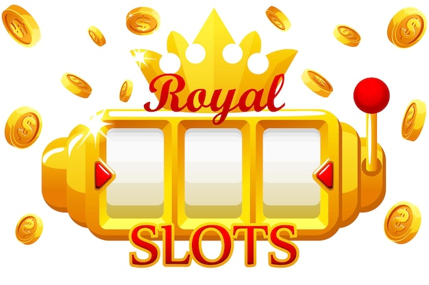 Royal gold slot machine, jackpot bonus coins with crown for ui game