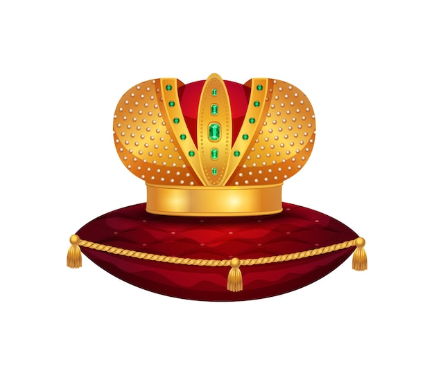 Royal golden crown composition with isolated image of crown on red velvet pillow