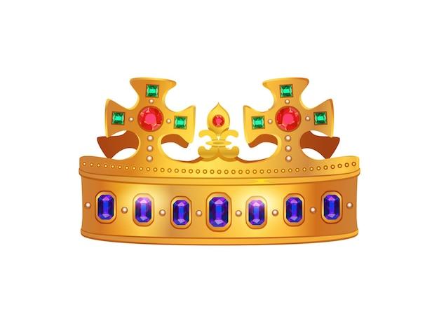 王皇帝の女王と皇后のための王冠の孤立したイメージを持つロイヤルゴールデンクラウン構成 無料ベクター