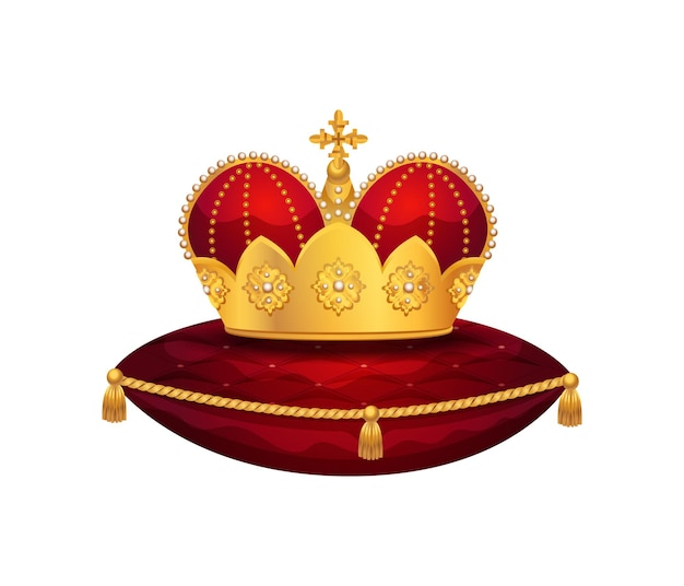 빨간 벨벳 베개에 왕관의 고립된 이미지가 있는 왕실 황금 왕관 구성
