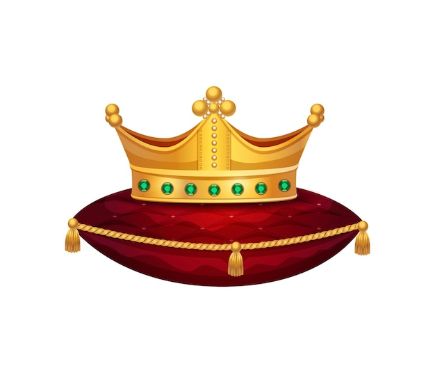 赤いベルベットの枕の上の王冠の孤立したイメージとロイヤルゴールデンクラウン構成