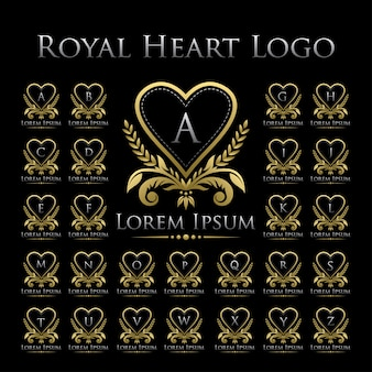 Royal heart logo icon with alphabet set