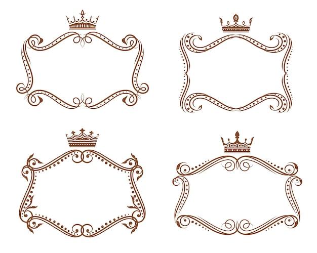 王室の紋章フレームと王冠と花の要素、紋章との境界線。茶色のビクトリア朝のヴィンテージのビネットが繁栄し、葉の巻物とつるの渦巻きが、フルールドリスの冠で覆われています