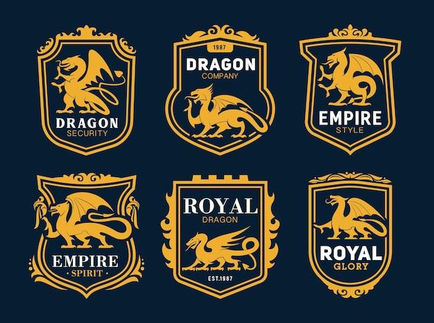 ドラゴン、おとぎ話のモンスターと王室の紋章のアイコン。シールドフレームと華やかなボーダーの会社のエンブレム