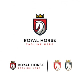 Элегантный логотип royal horse с логотипом horse щита