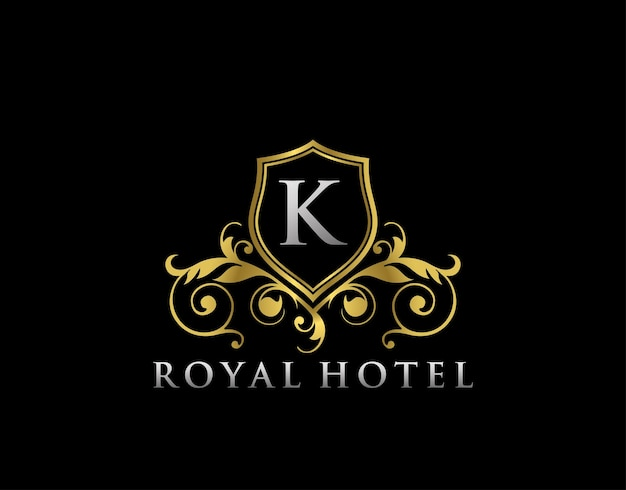 Royal hotel k letter crest gold logo template