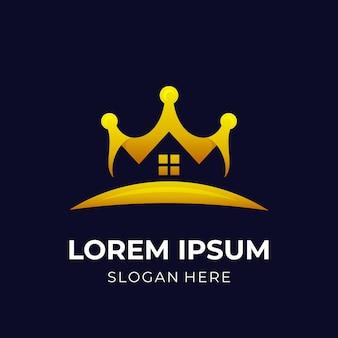 로얄 하우스 로고, 하우스 및 크라운, 3d 골드 색상 스타일의 조합 로고
