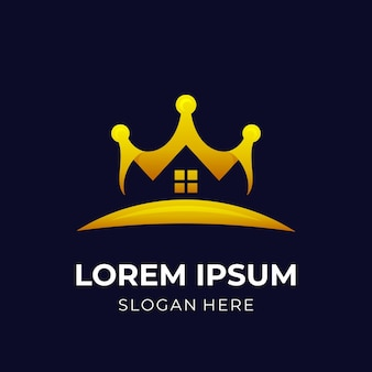 Royal house logo, house and crown, combination logo with 3d gold color style