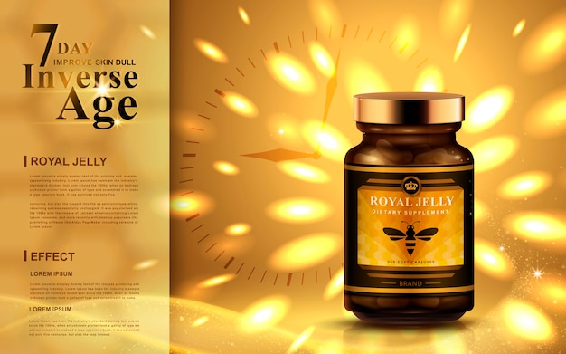 Royal jelly ad with bright golden lights, clock background