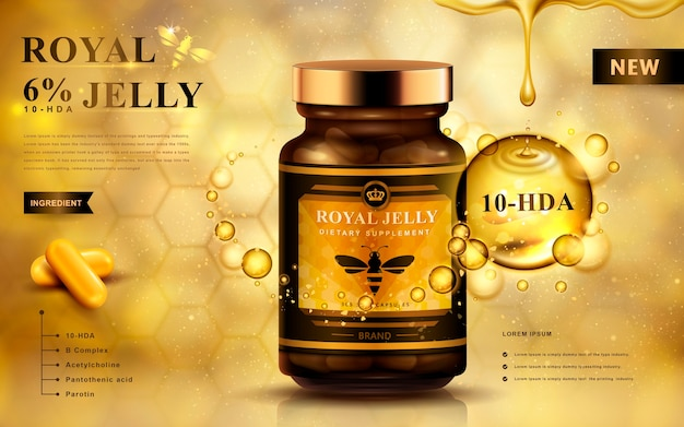 Royal jelly ad with capsules and dropping fluid, golden background