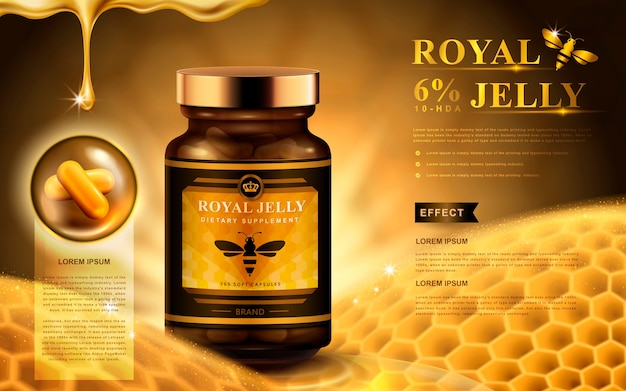 Royal jelly ad with capsules, honeycomb, and dropping fluid, golden background