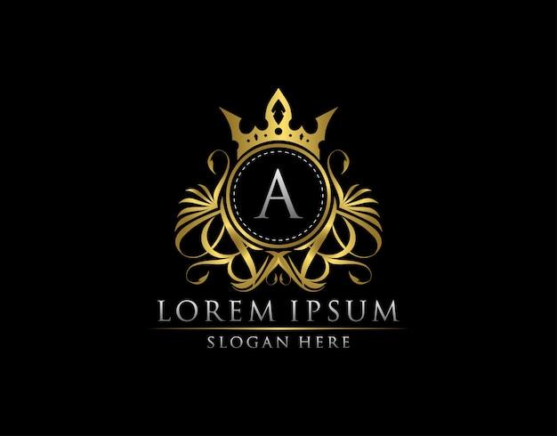 Шаблон логотипа royal king a letter crest gold
