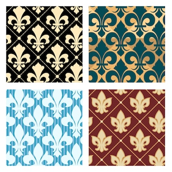 Royal lily patterns set. flower seamless decoration background endless, vector illustration