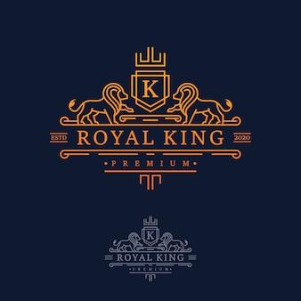 Роскошный дизайн логотипа royal lion king