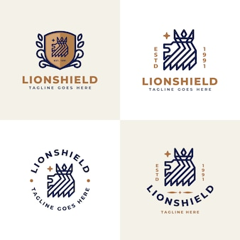 Royal lion logo with crown collection