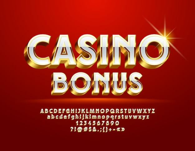 Royal logo casino bonus. 3d gold and white font. chic alphabet letters and symbols
