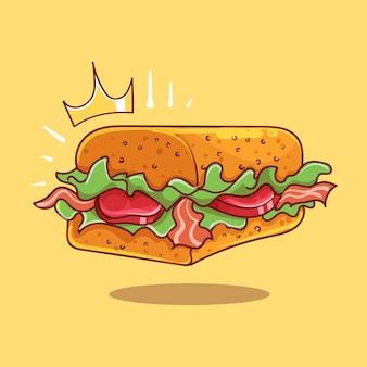 Royal long square bacon sandwich cartoon vector icon illustration