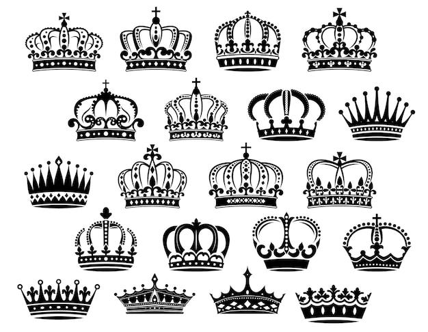 Королевские средневековые геральдические короны в черно-белом цвете, подходящие для геральдики, монархии и винтажных концепций.