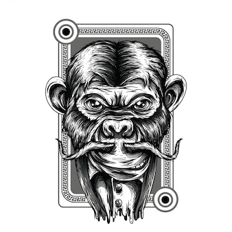 Royal monkey black and white illustration
