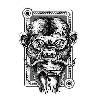 Royal monkey черно-белая иллюстрация