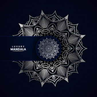 Royal ornamental mandala background with silver color