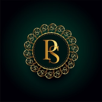 Royal p and s letter golden luxury logo