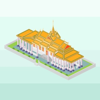 Royal palace of cambodia in isometric