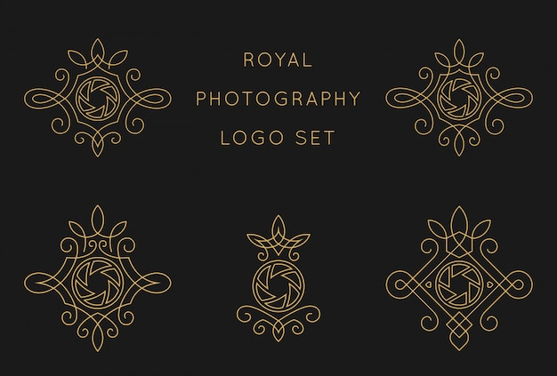 Royal photography logo set design template