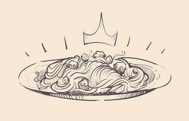 Royal portion of spaghetti on a plate sketch