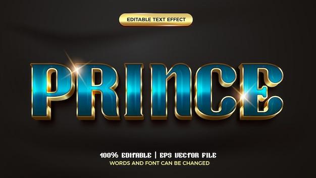 Королевский принц роскошный золотой 3d редактируемый текстовый эффект