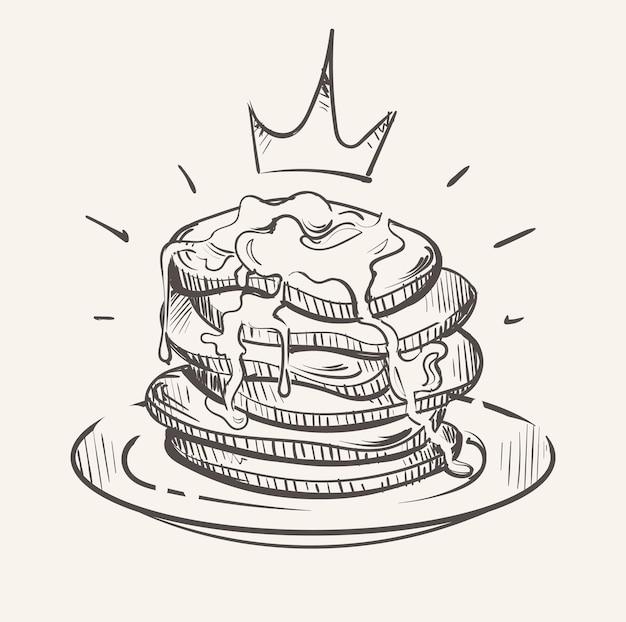 ロイヤルパフィーパンケーキシロップスケッチのパンケーキ