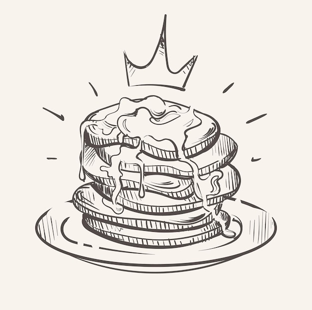 Royal puffy pancakes pancakes in syrup sketch