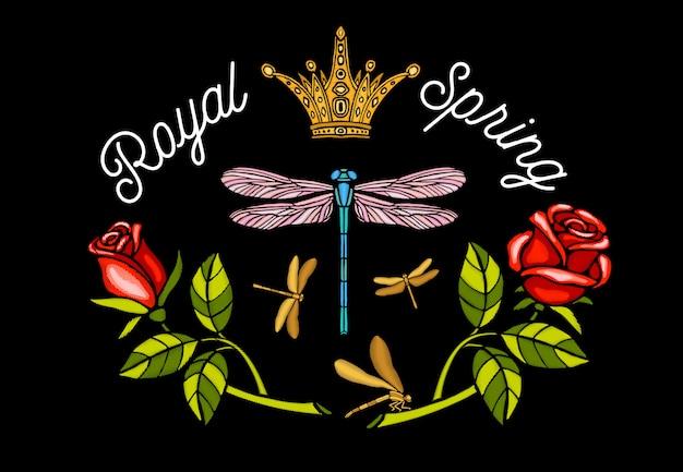 ロイヤル、春のトンボとバラの刺繍イラスト