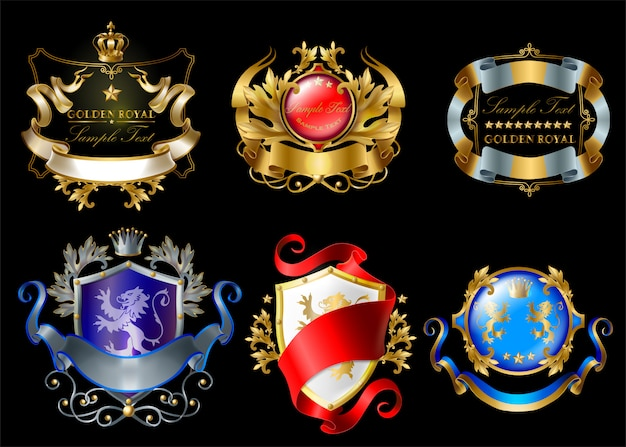 Royal stickers with crowns, shields, ribbons, lions, stars isolated on black background