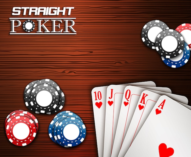 Royal straight poker card and chips on the table