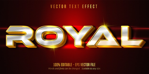 Royal text, luxury golden and silver editable text effect on textured background