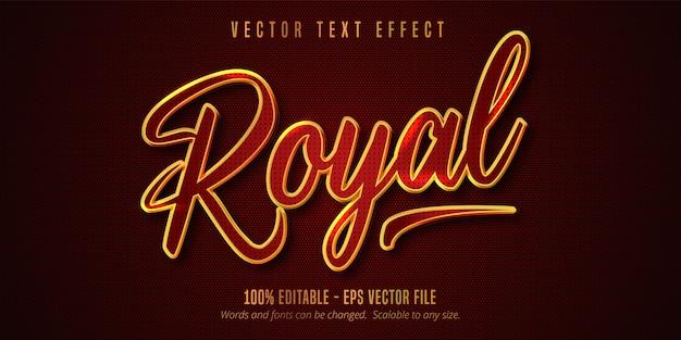 로얄 텍스트, 반짝이는 황금색과 붉은 색 스타일 편집 가능한 텍스트 효과