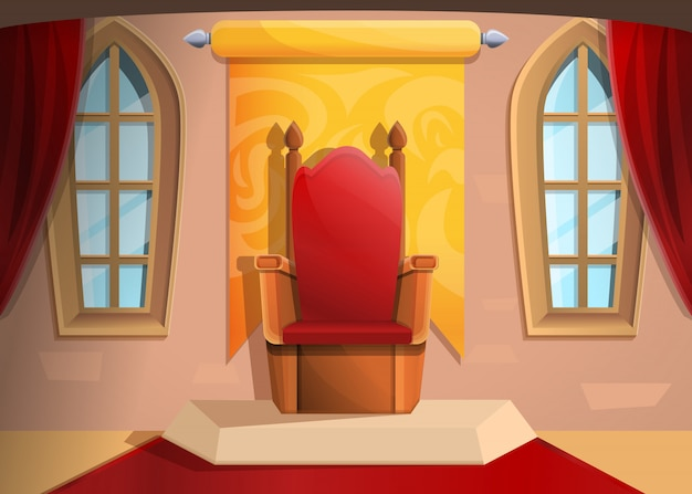 Royal throne medieval hall in cartoon style, illustration