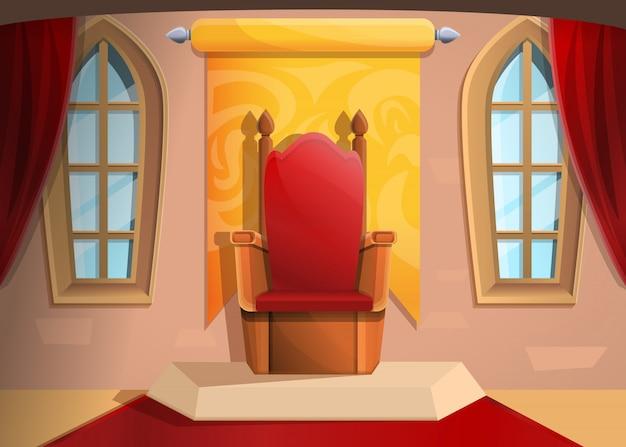 Королевский трон средневековый зал в мультяшном стиле, иллюстрация