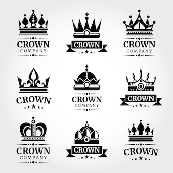 Royal vector crown logo templates set