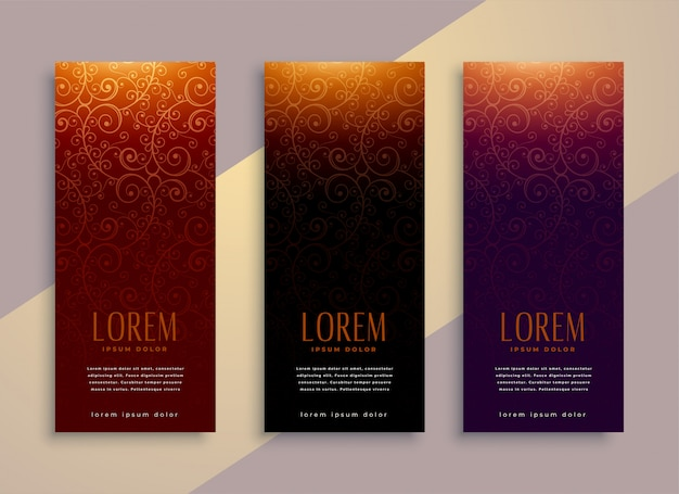 Royal vertical banners set in luxury style