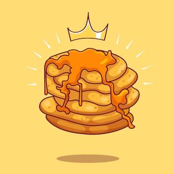 はちみつシロップ漫画ベクトルアイコンイラストを注いだロイヤルワッフルパンケーキ